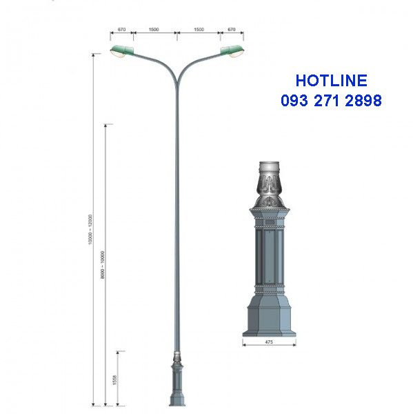Cột đèn cao áp đế gang